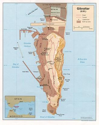 Map of Gibraltar, UK. Courtesy of Mappery.
