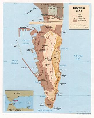 Map of Gibraltar, UK. Courtesy of Mappery.