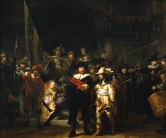 Officers and Men of the Amsterdam Kloveniers Militia, the Company of Captain Frans Banning Cocq by Rembrandt van Rijn (Rijiksmuseum, Amsterdam)