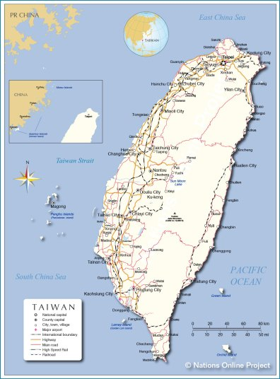 Map of Taiwan (courtesy of Nations Online Project)